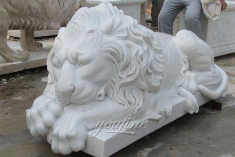 Stone lions garden ornaments